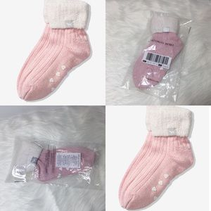 New VS 💗 PINK Cozy Lined Crew Socks Chalk Rose